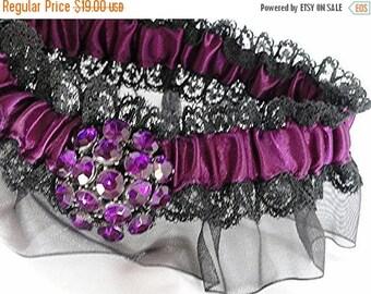 On Sale Purple & Black Lace Organza Rhinestone Garter•Wedding Garter•Goth Garter•Sized to Fit 14-18 Inches•Halloween Wedding•Dark Victorian•