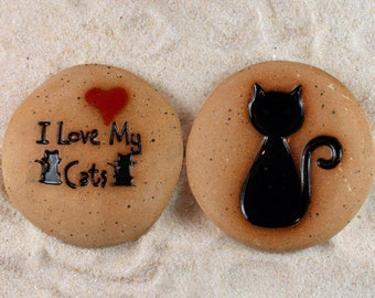 Painted Rocks, Cat lover gifts, I Love My Cats, Cat, 2 Ceramic Message Stones, Rock Art, Inspirational Art, Pocket Stone