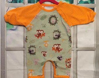 forest friends one piece romper - 0/3 months - ready to ship - orginal design nickisrainbow - infant romper - forest friends - baby romper
