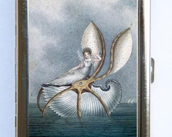 Fairy on a Shell Cigarette Case id case Wallet Business Card Holder