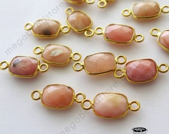 4 pcs Tiny 8mm x 6mm Rectangle Pink Opal Natural Gold Bezel Connector F725