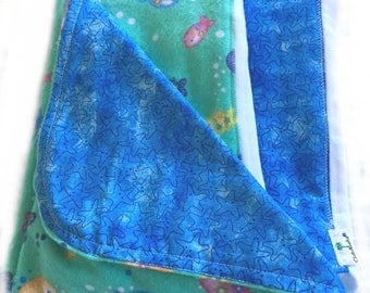 Newborn Gift Set - Fish & Starfish Blanket and Burp Cloths
