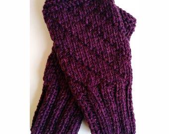 TWEEDY PURPLE Darting Diagonals Fingerless Gloves, Merino Wool Knit Mitts / Gauntlets for Men and Women, Unisex, Mitts, Mittens, Texting