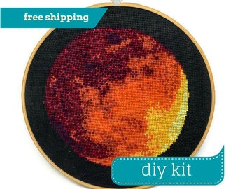 Mars Cross Stitch Kit DIY - Counted Cross Stitch Kit - Needlepoint Kit - DIY Kit - 8 Inches