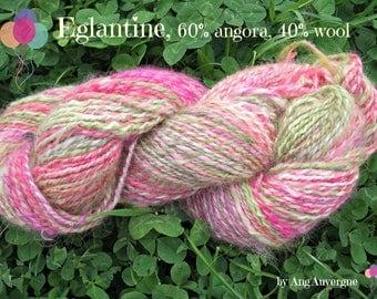 EGLANTINE, handspun yarn, 60% angora, 185 meters.
