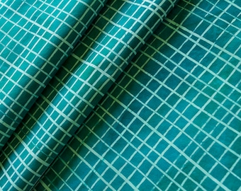 Skinny Stripe Grids Hand Dyed and Patterned Cotton Fabric in Seafoam and Mermaid
