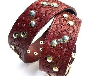 Reddish Brown Tooled Leather Dog Collar with Zig Zag Bike Chain Links to fit a 18-21in Neck, Large Dog, Eco-Friendly, Seattle Handmade, OOAK