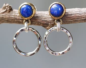 Round lapis lazuli earrings in gold plate bezel setting with silver hammer texture circle on post style