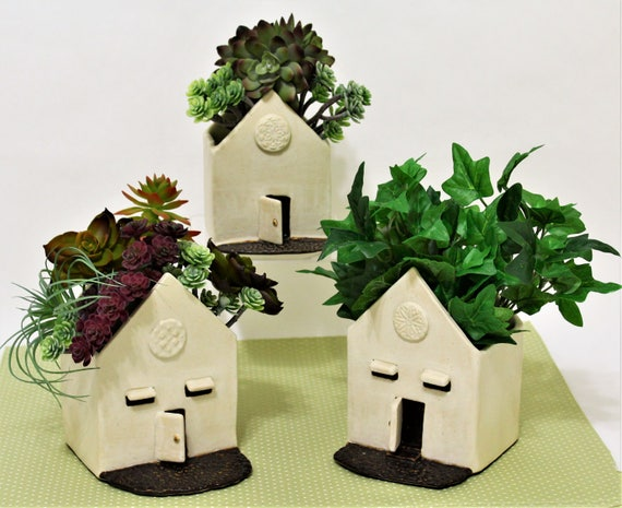 Ceramic Succulent Planter - Cactus Planter - Small Planter - Ceramic House Planter - Pottery Planter - Rustic Planter - Cute Planter