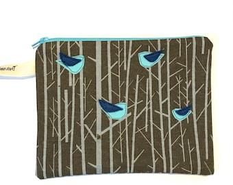 Birds in the Forest  Felt Appliqué large zipper pouch, organic cotton canvas, lined, gift idea