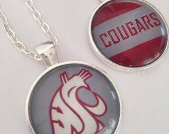 1 WSU Cougars College School Spirit Glass Pendant Necklace Jewelry Washington State 25mm Round