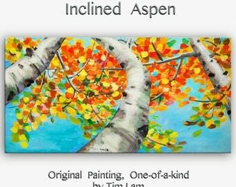 Sale Happy Autumn Aspen,  Contemporary Huge Original acrylic Painting 48x24x1.5