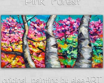 Sale Landscape Painting Wall art Original abstract painting Changing Season forest Oil painting Modern decor Wall hanging by Tim Lam 48x24