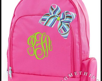 Buckingham Collection Monogrammed Backpack and Hairbow, Personalized School Bags for Girls, Hot Pink Bookbags for kids, matching hairbow
