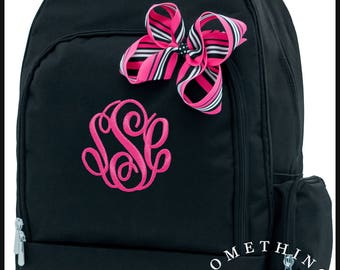 Buckingham Collection Monogrammed Backpack and Hairbow, Personalized School Bags for Girls, Black Bookbags for kids, matching hairbow
