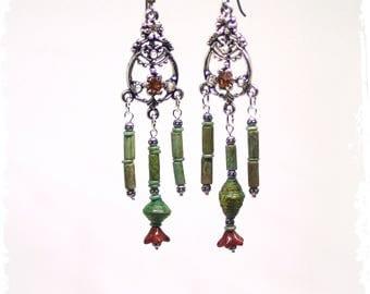 Long Gypsy Earrings Gift for Her, Bollywood Chandelier Earrings, Rustic Boho Statement Earrings, Festival Earrings, Beaded Dangle Earrings,