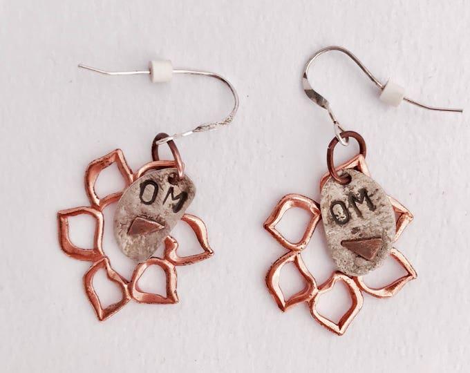 Lotus Earrings * Om* Om Jewelry * Sterling Stamped* *Mixed Metal * Copper Earrings * Hand Stamped OM