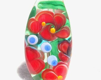POWER FLOWER #4 Handmade Lampwork Art Glass Focal Bead - Flaming Fools Lampwork Art Glass  sra