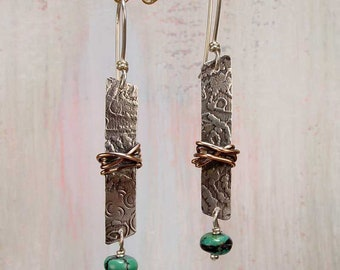 WRAPPED BAR - Sterling Silver Earrings Wrapped with Copper, Turquoise Nuggets