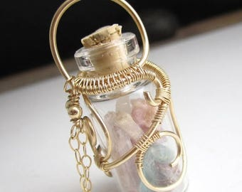 SUMMER SALE Bottle Gems Necklace - 14k Gold Fill Wrapped glass bottle with tourmaline, aquamarine, and kunzite