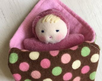 Pink Waldorf doll and doll blanket, small dolls, tiny baby, Pocket baby, baby doll, Waldorf Toys, gift for kids, gift for her