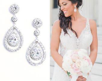 Rose Gold Bridal Earrings Wedding Earrings Cubic ZirconiaTeardrop Art Deco Earrings Cocktail Earrings