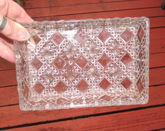 Very Old Vintage Diamond Point Pressed Glass Rectangle Relish Tray Serving Dish, EAPG