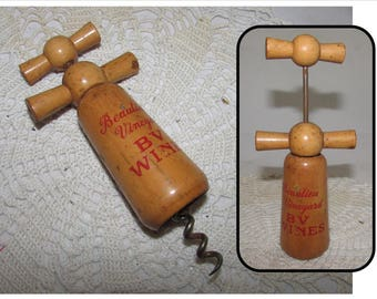 Vintage Wood Double Handle Mill Corkscrew French, Beaulieu Vineyard BV Wines, bottle opener
