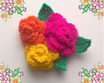 Adorable Crochet Brooch / Pin / Corsage. Bright Roses and Leaves. Pink Yellow Orange. Ooak Crochet Art.