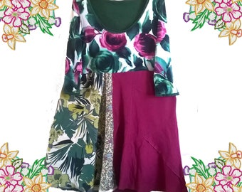 Upcycled Dress, Pink and Green Roses and Leaf Prints.   Preloved Handmade Refashioned Clothing. Size Extra Large, 1xl 2xl 3xl Plus Size.