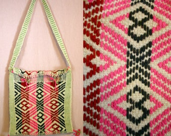 70's Colorful  Folk Ethnic WOVEN Wool Shoulder Bag / Purse