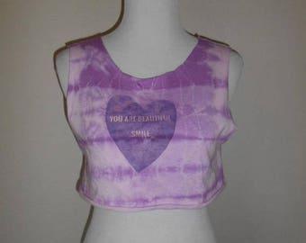 Closing Shop 40%off SALE tie dye   half shirt cropped crop top  tee t shirt  tie dye   You Are Beautiful Smile