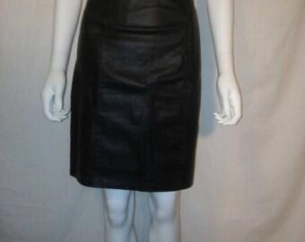 Closing Shop 40%off SALE Black leather knee length skirt, High Waist Leather Skirt 80s 90s