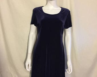Closing Shop 40%off SALE 90's short dark purple velvet dress