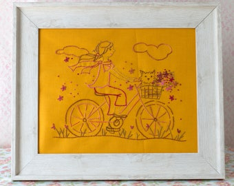 Girl Riding Bicycle Hand Embroidery PDF Pattern