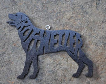 Rottweiler Hand Made  Decoration Ornament Scroll Saw Wood Cut Out