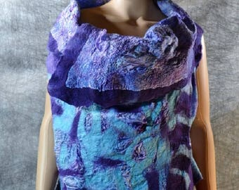 Purple turquoise felted reversible vest