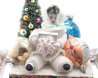 Christmas Day Spun Cotton Doll Christmas Decoration Needle Vintage Inspired Bottle Brush Tree Mercury Glass Ornaments Art Doll