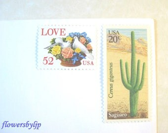 Desert Wedding Postage Stamps 2018 rate 71c, Love Doves Flower Basket- Cactus Stamps, Mail 20 Southwestern Invitations, 2 oz postage unused