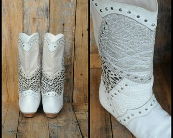 Punk Rock Boots, Us 6, Uk 4, Wu 37, White Boots, Wild Boots, White Leather Boots, Rhinestone Boots, White Riding Boots, White Slouch Boots
