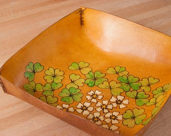 Leather Valet Tray for Her - Catchall in the Lucky Pattern with Shamrocks, Four Leaf Clovers and Flowers - Green and Antique Tan
