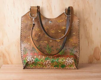 Large Leather Tote Bag - Handmade Purse in the Ronja Pattern with shamrocks, toadstools, ferns and mushrooms - Antique Brown - Handbag