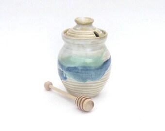 Honey Pot with Dipper - Rio Grande Glaze