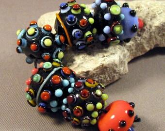 Lampwork Beads Handmade by Mona Sullivan -Multi-Color on Black -Multi colored Precision Layered dots Colorful Lampwork by Mona Sullivan Boho
