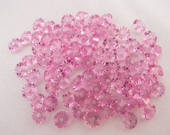 Vintage Very Sparkly Rose Pink Squashed Bicone Spacer Glass Beads - 5mmx3mm - Lot of 60