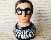 Little Ruth Bader Ginsburg polymer clay bust