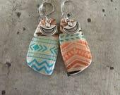 Paire de boucles d'oreille en argile polymère -  azteque sable- nouvelle collection