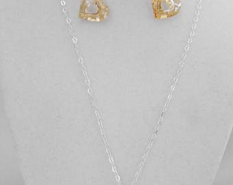 Necklace & Earrings, Golden Open Hearts, Sterling Silver Heart Chain, Wire-Wrapped, OOAK, Hand-Made NT-1368