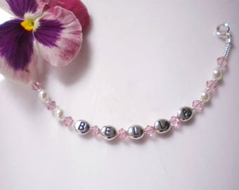 Childs ID Bracelet Personalized Swarovski Crystals SilverPlate Letters Children Adults  Custom Ordered