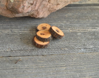 4 wooden buttons- Juniper, handmade buttons (2038)